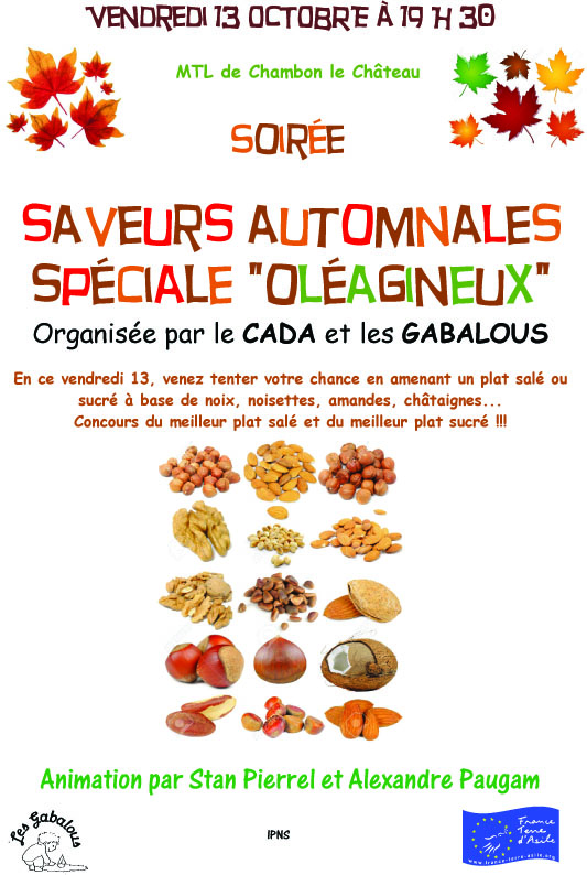 SOIREE SAVEURS AUTOMNALES SPECIALE  OLEAGINEUX